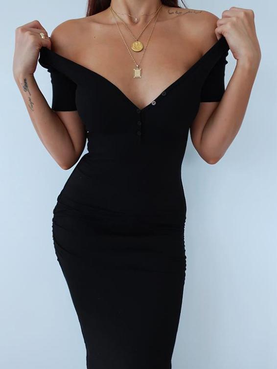 Simple Deep v Short Sleeve Solid Midi Dress