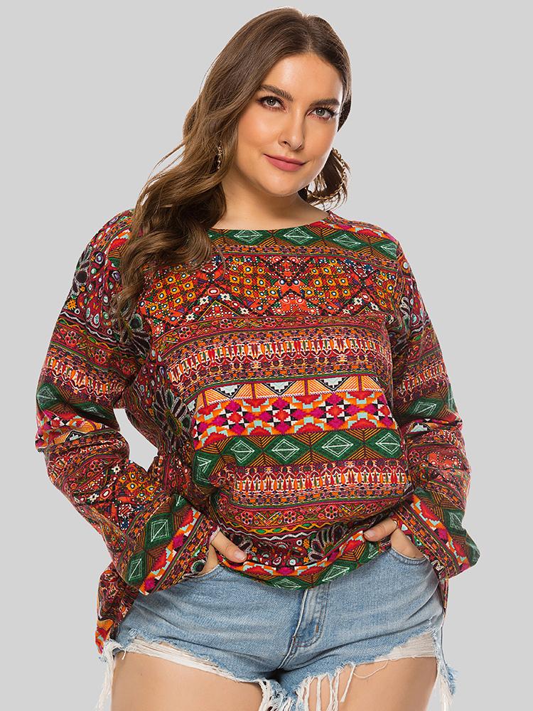 Ethnic Style Multiple Pattern Print Plus Size T-shirt