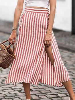 Red Striped Double Pockets Split Skirt