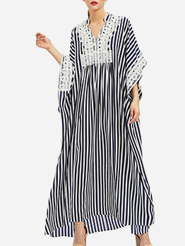 Plus Size Striped Long Sleeve Maxi Dresses