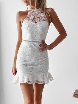 Lace Off Shoulder Ruffle Hem Bodycon Dress