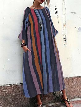 Vintage Style Contrast Color Striped Pockets Midi Dress