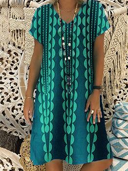 Stylish Geometric Printed Short Sleeve Dress