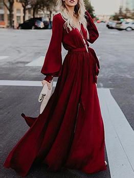 Lantern Sleeve Solid Tie-Wrap Prom Dress