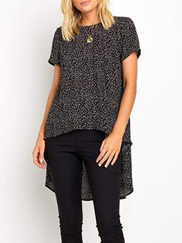 Crew Neck Print Short Sleeve T-shirts For Women