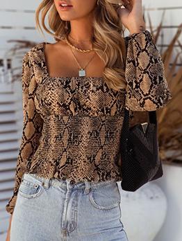 Fashion Snake Print Long Sleeve Women Blouses