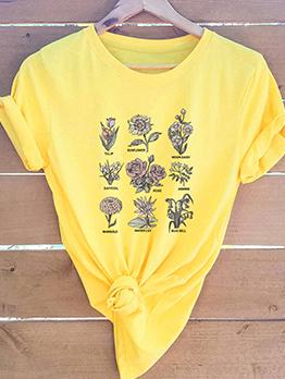 Crew Neck Flower Print Short Sleeve Womens T-shirts