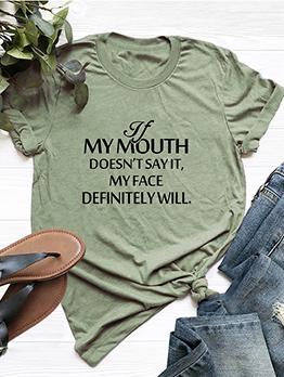Crew Neck Letter Casual Cotton T-shirt