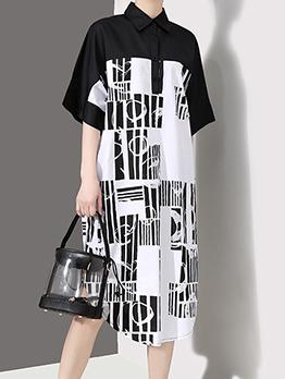 Loose Patchwork Printed Short Sleeve Shirt Dress