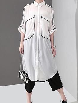 Leisure Button Up Half Sleeve Shirt Dresses