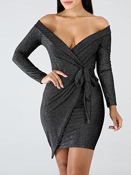 Deep V Neck Sexy Tie-Wrap Polka Dots Dress