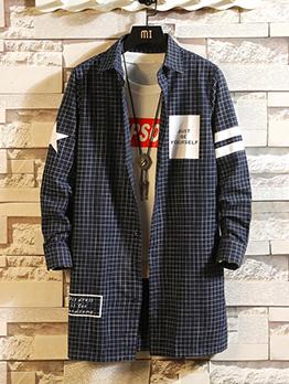 Fashion Plaid Letter Long Sleeve Men's Outerwear