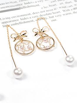 Bowknot Dreamcatcher Pearl Earrings For Women