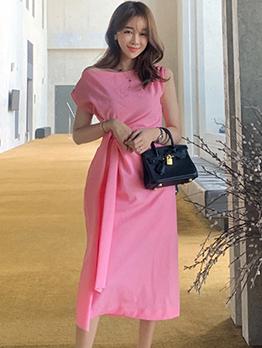 Smart Waist Pink Short Sleeve Dress