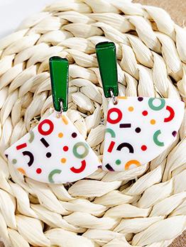 Colorful Fan-shaped Acrylic Earrings For Women