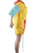 Contrast Color Hooded Short Sleeve Dress