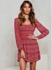 Fashion Printed Ruffled Hem Long Sleeve Dress