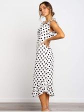 Fashion v Neck Ruffle Polka Dots Women Dresses