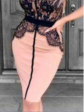 Sexy Lace Patchwork Women Spaghetti Strap Dress