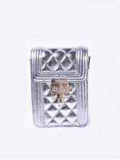 Chic Robot Decor Hasp Diamond Pattern Phone Bag