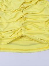 Sexy Ruched Sheath Solid Spaghetti Strap Dress