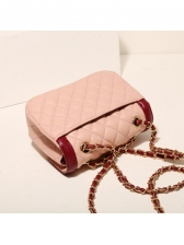 Chic Contrast Color Rhombus Chain Bag