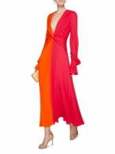 Deep V Neck Contrast Color Twist Maxi Dress