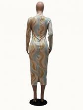 Mock Neck Printed Long Sleeve Bodycon Dress