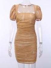 Sexy Gauze Ruched Sheath Short Sleeve Dress
