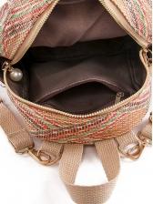 Tassel Decor Zipper Woven Mini Backpack