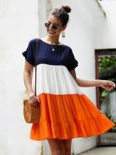 Contrast Color Large Hem T-Shirt Dress