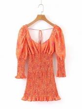 V Neck Elastic Waist Floral Long Sleeve Dress