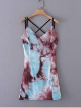 Cross Belt Backless Tie Dye Sleeveless Dress