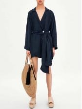 Lapel Collar Tie-Wrap Long Sleeve Dress