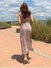 V Neck Tie-Wrap Sleeveless Midi Dress