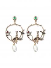 Vintage Hollow Out Flower Bird Earrings For Women