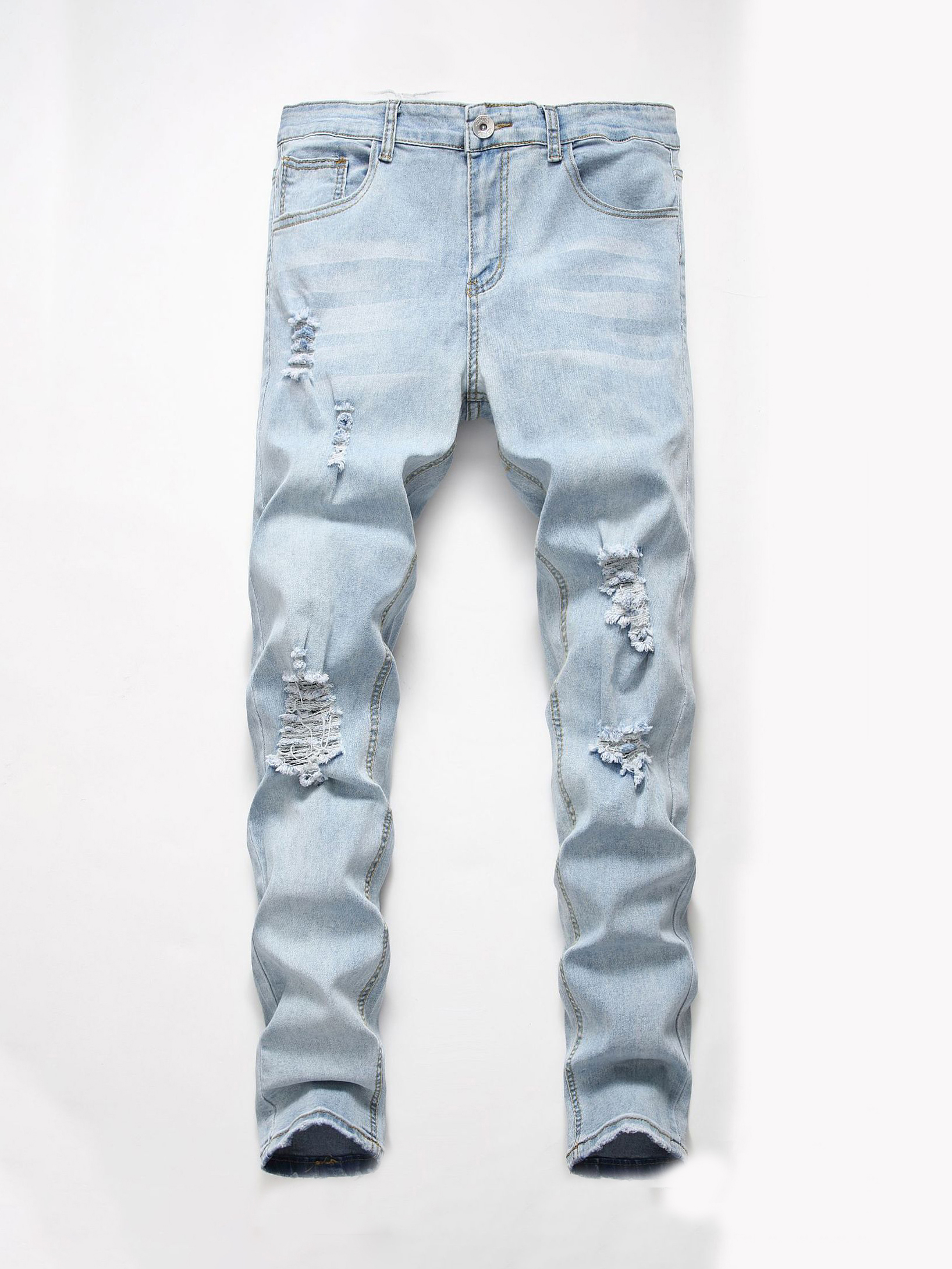 Trendy Solid Mens Ripped Skinny Jeans