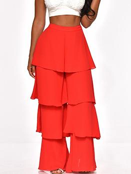 Hot Sale Ruffle Hem Solid Flare Women Pants