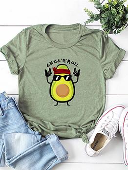 Summer Short Sleeve Printed Ladies Cotton t Shirt