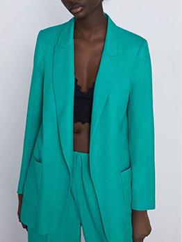 Minimalist Vertical Pockets Long Sleeve Blazer