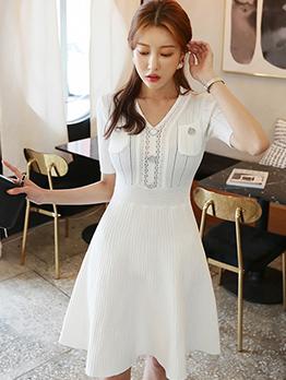 Fashion Solid V Neck Short Sleeve Dress