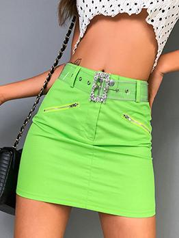 Solid Color Zipper Decor High Waist Pencil Skirt