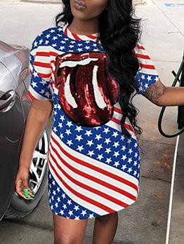 American Flag Tongue Printed Short Sleeve Dress