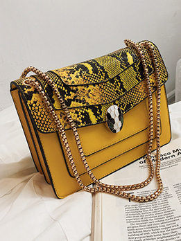 Fashion Snake Print Shoulder Bags With Chain