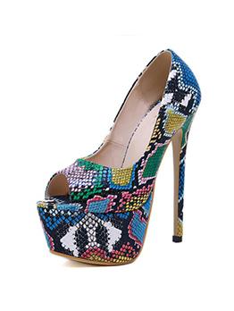 Peep-Toe Multicolored Snake Print Platform Heels