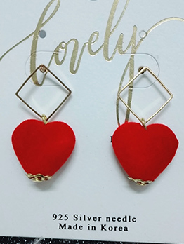 Sweet Heart Shape Female Earrings