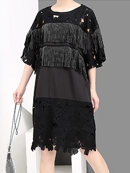 Hollow Out Tassel Short Sleeve Dress