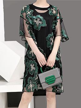 Stylish Flower Embroidery Short Sleeve Dress