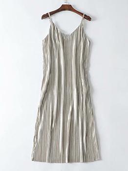 Minimalist V Neck Pleated Slip Dress For Women