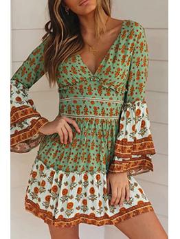 V Neck Elastic Waist Flare Sleeve Floral Dress